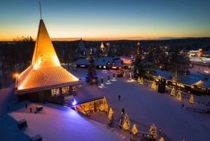 Santa Claus Village in evening in winter time