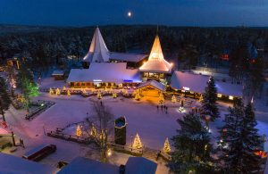 Blue moment in Santa Claus Village in Finland