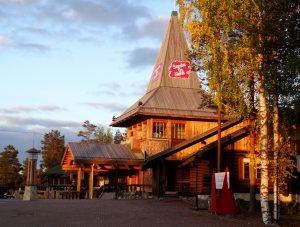 Santa Claus Office in autumn colours at the Arctic Circle in Lapland