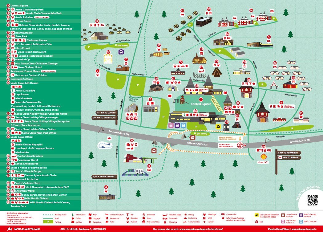 Info Map Of Santa Claus Village Santa Claus Village Rovaniemi